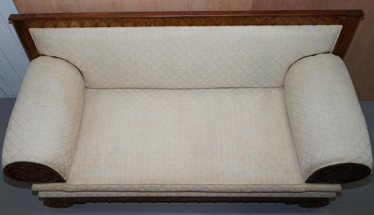 Rare circa 1780 Metamorphic Gothic Style Sofa Converts into Window Seat Chaise For Sale 2