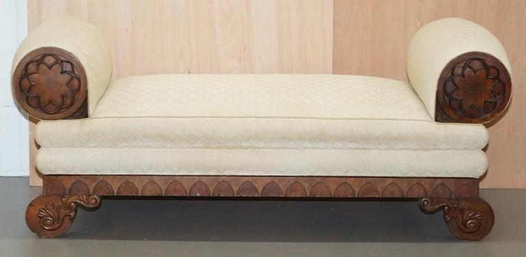 Rare circa 1780 Metamorphic Gothic Style Sofa Converts into Window Seat Chaise For Sale 10