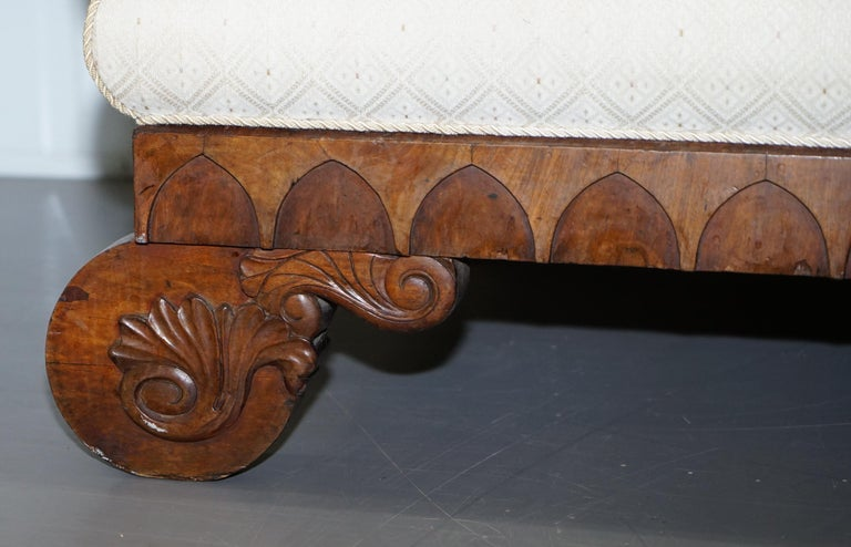 Upholstery Rare circa 1780 Metamorphic Gothic Style Sofa Converts into Window Seat Chaise For Sale