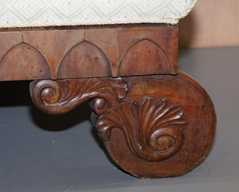 Rare circa 1780 Metamorphic Gothic Style Sofa Converts into Window Seat Chaise For Sale 1