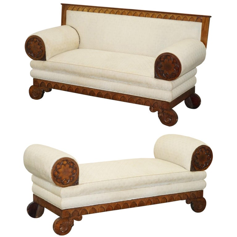 Rare circa 1780 Metamorphic Gothic Style Sofa Converts into Window Seat Chaise For Sale