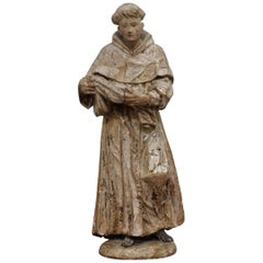 Rare circa 1800 Italian Hand Carved Lime Wood Statue of Saint Anthony of Padua
