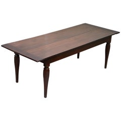 Rare circa 1820 Fruitwood Two Plank Top English Farmhouse Refectory Dining Table