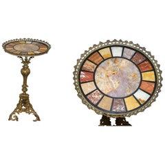 Rare circa 1820 Regency Ornately Cast Italian Brass Side Table Speciamine Marble