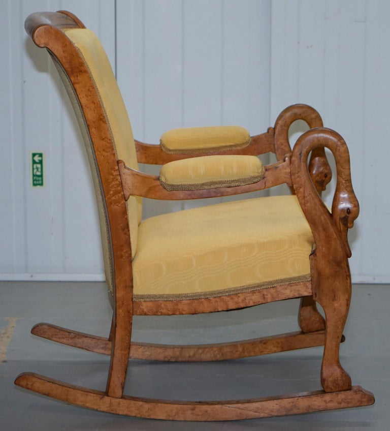 Incredible Rare Circa 1825 Burr Maple Rocking Armchair With Hand Carved Swan Detailed Arms Pdpeps Interior Chair Design Pdpepsorg