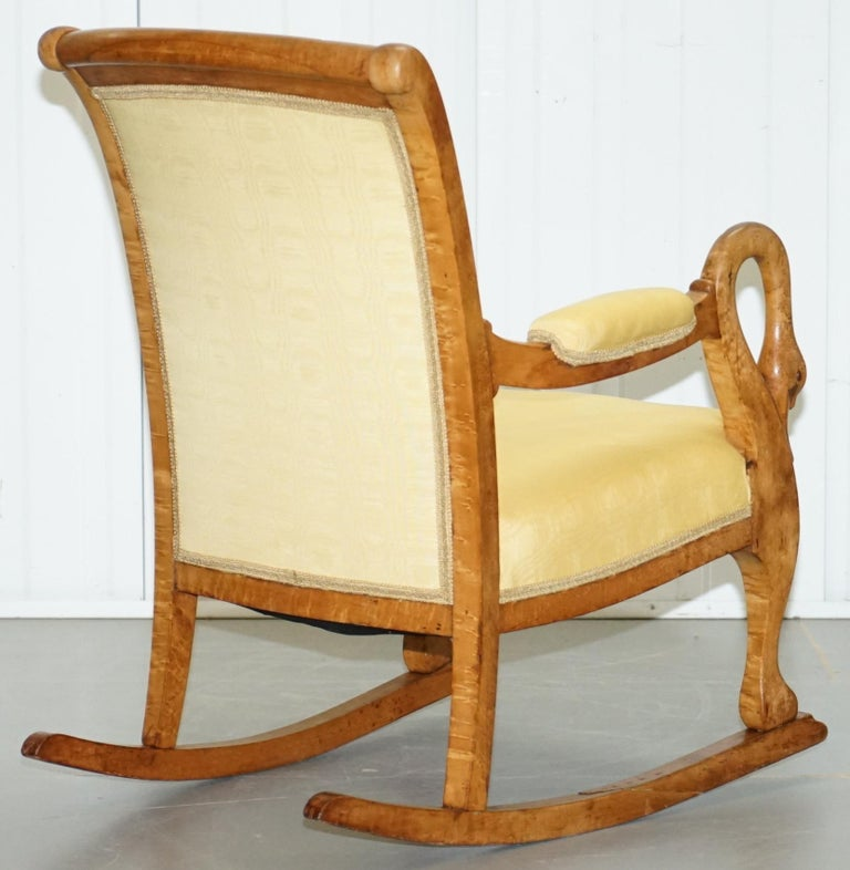 Wondrous Rare Circa 1825 Burr Maple Rocking Armchair With Hand Carved Swan Detailed Arms Pdpeps Interior Chair Design Pdpepsorg