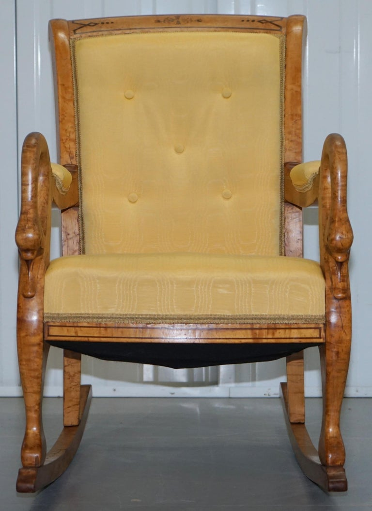 Surprising Rare Circa 1825 Burr Maple Rocking Armchair With Hand Carved Swan Detailed Arms Pdpeps Interior Chair Design Pdpepsorg
