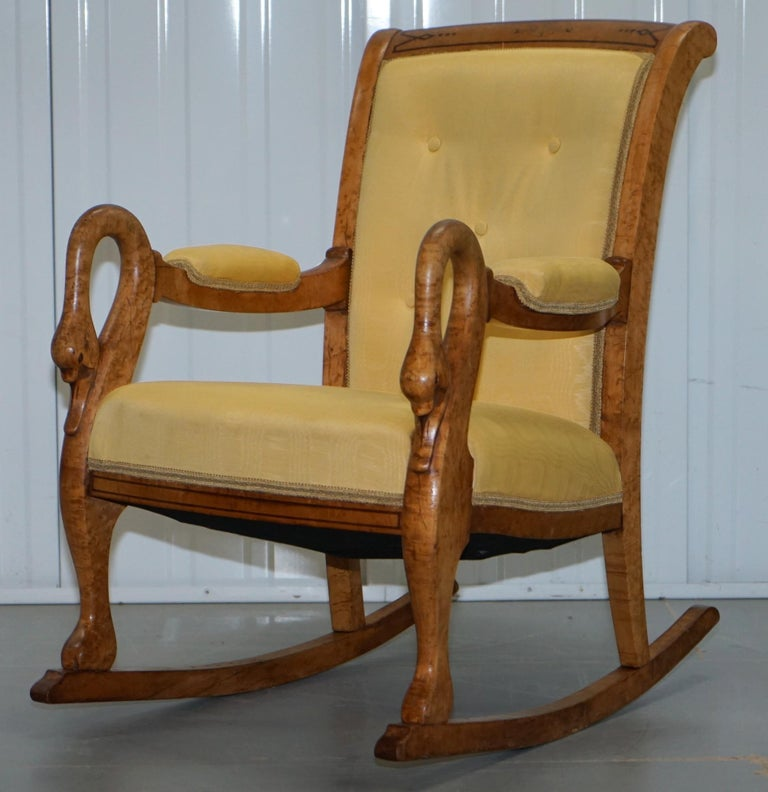 Pleasant Rare Circa 1825 Burr Maple Rocking Armchair With Hand Carved Swan Detailed Arms Pdpeps Interior Chair Design Pdpepsorg