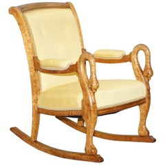 Rare circa 1825 Burr Maple Rocking Armchair with Hand Carved Swan Detailed Arms