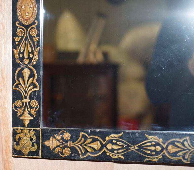 Hand-Crafted Rare circa 1840 Victorian Hand Painted Mirror Lovely Size Stunning Decoration For Sale