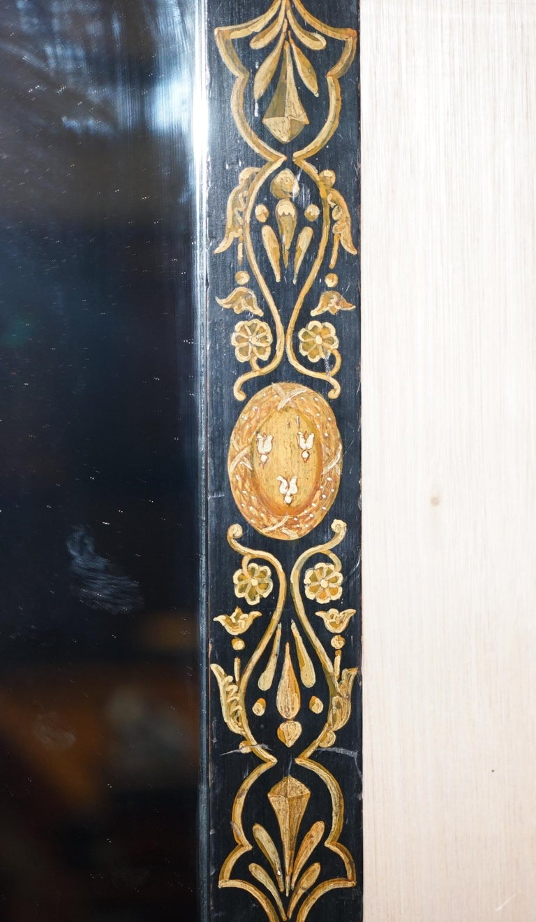 Rare circa 1840 Victorian Hand Painted Mirror Lovely Size Stunning Decoration For Sale 1