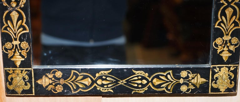 Rare circa 1840 Victorian Hand Painted Mirror Lovely Size Stunning Decoration For Sale 2