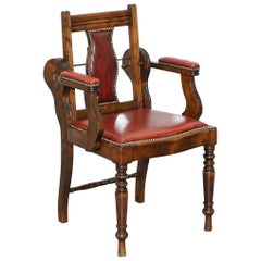 Rare circa 1850 Solid English Oak Leather Adjustable Barbers Chair Reclining