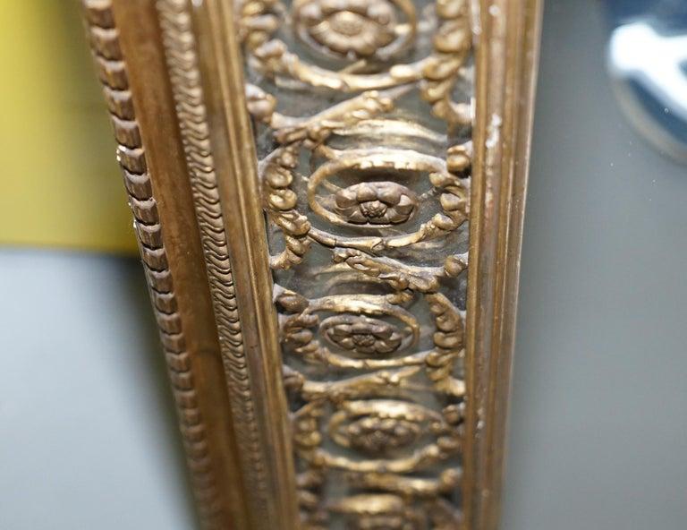 Rare circa 1860 Charles Nosotti Victorian Mercury Plate Glass over Mantle Mirror For Sale 3
