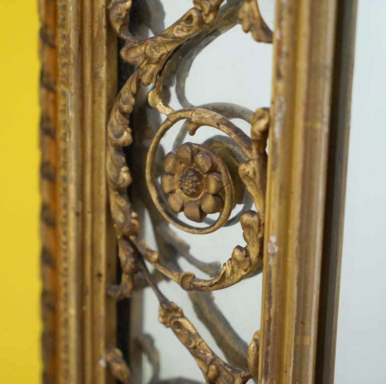 Rare circa 1860 Charles Nosotti Victorian Mercury Plate Glass over Mantle Mirror For Sale 4