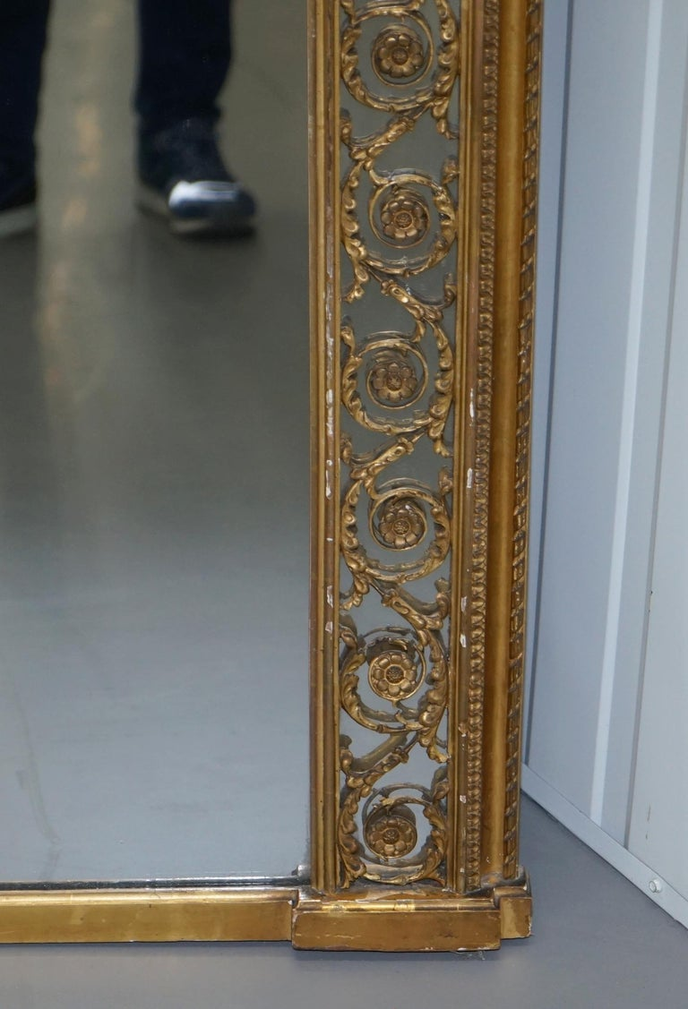 Early Victorian Rare circa 1860 Charles Nosotti Victorian Mercury Plate Glass over Mantle Mirror For Sale