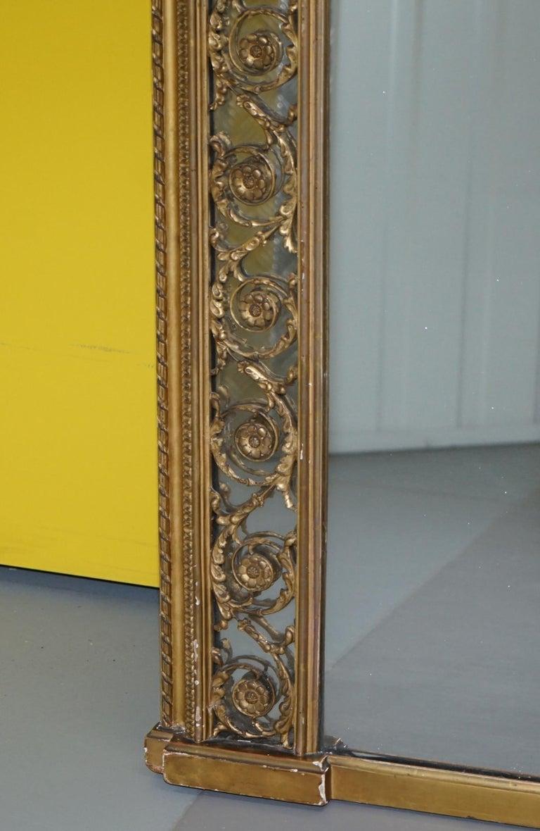 English Rare circa 1860 Charles Nosotti Victorian Mercury Plate Glass over Mantle Mirror For Sale