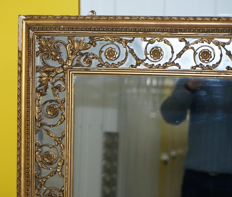 Hand-Crafted Rare circa 1860 Charles Nosotti Victorian Mercury Plate Glass over Mantle Mirror For Sale