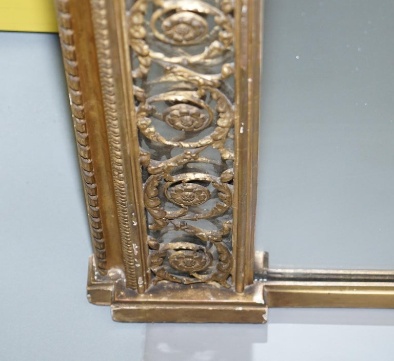 Rare circa 1860 Charles Nosotti Victorian Mercury Plate Glass over Mantle Mirror For Sale 2