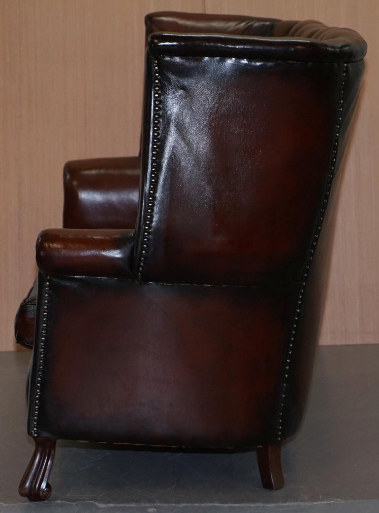 Rare circa 1860 Huge Victorian Brown Leather Barrel Back Suite Sofa Armchair For Sale 6