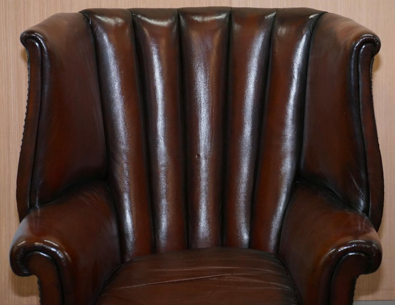 Rare circa 1860 Huge Victorian Brown Leather Barrel Back Suite Sofa Armchair For Sale 9