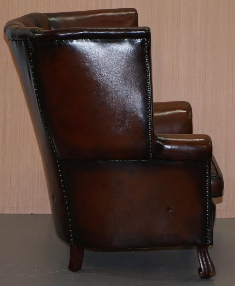 Rare circa 1860 Huge Victorian Brown Leather Barrel Back Suite Sofa Armchair For Sale 13