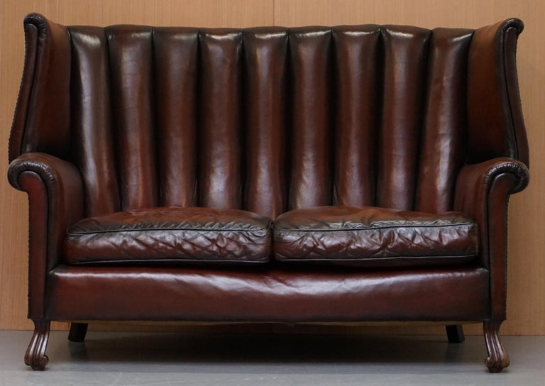 English Rare circa 1860 Huge Victorian Brown Leather Barrel Back Suite Sofa Armchair For Sale