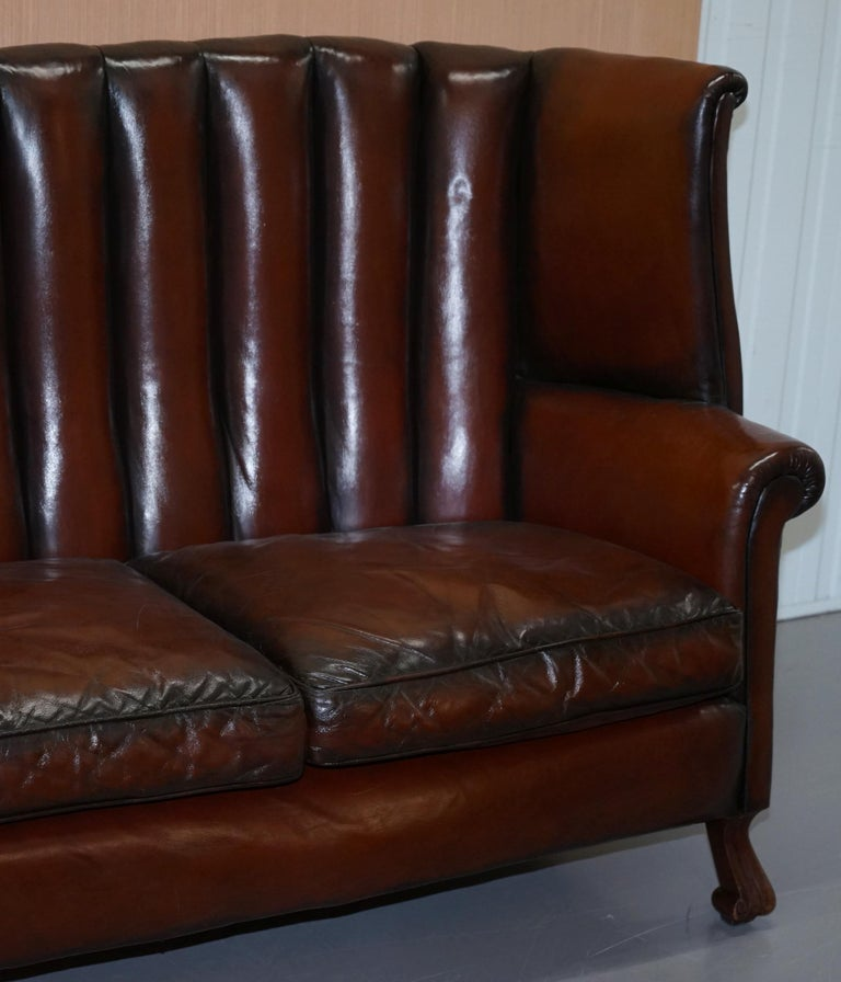 Hand-Crafted Rare circa 1860 Huge Victorian Brown Leather Barrel Back Suite Sofa Armchair For Sale
