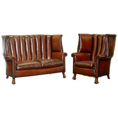 Rare circa 1860 Huge Victorian Brown Leather Barrel Back Suite Sofa Armchair
