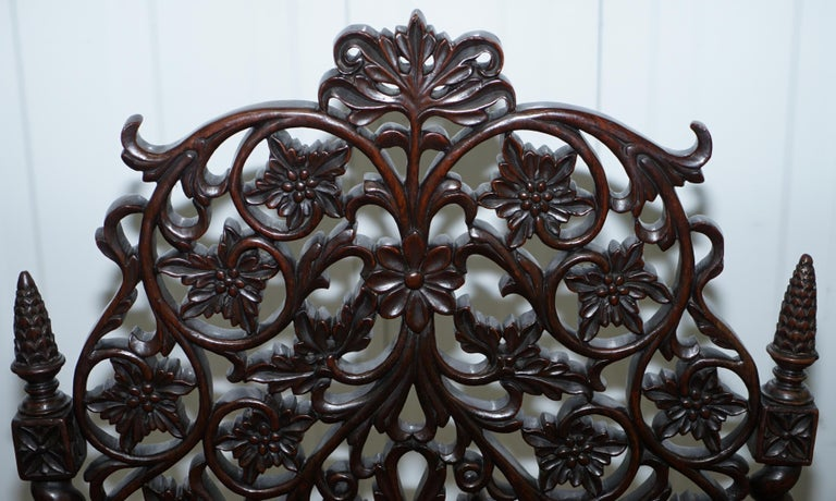Rare circa 1880 Burmese Solid Rosewood Hand Carved Floral Chair High Back Ornate For Sale 4