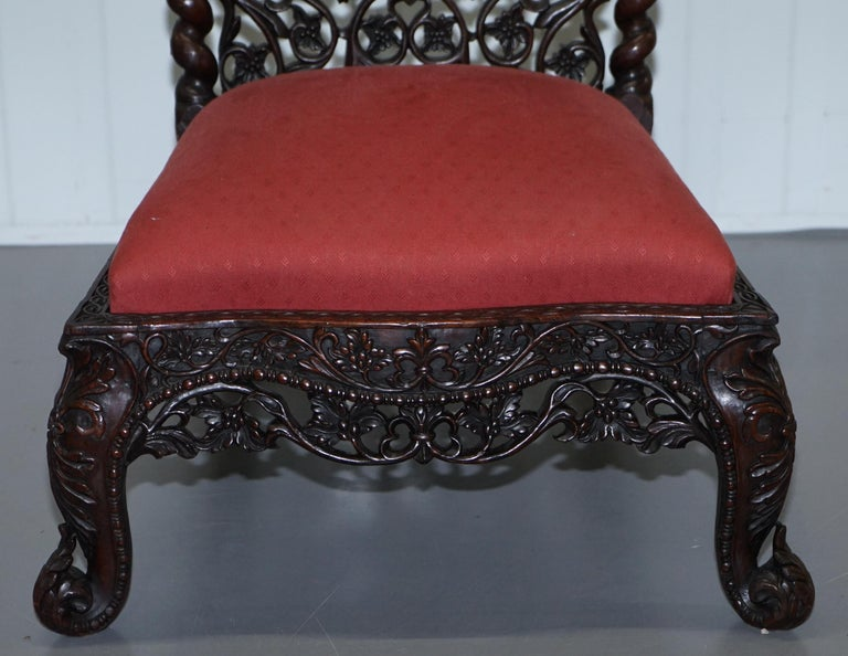 Rare circa 1880 Burmese Solid Rosewood Hand Carved Floral Chair High Back Ornate For Sale 6