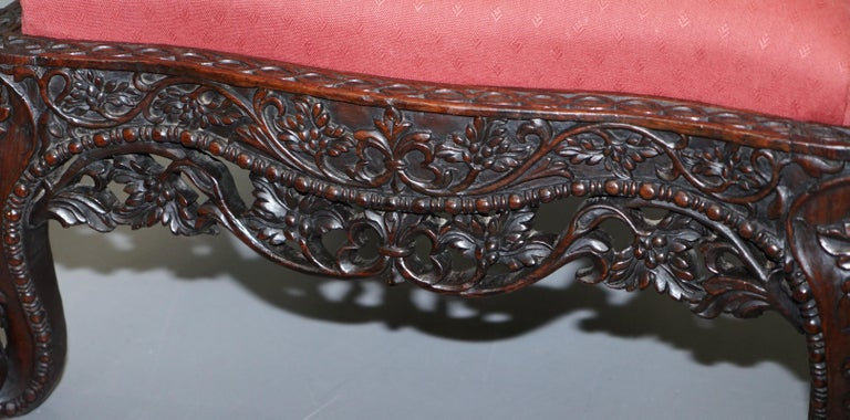 Rare circa 1880 Burmese Solid Rosewood Hand Carved Floral Chair High Back Ornate For Sale 7