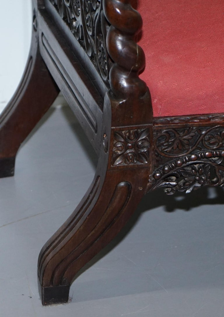 Rare circa 1880 Burmese Solid Rosewood Hand Carved Floral Chair High Back Ornate For Sale 8