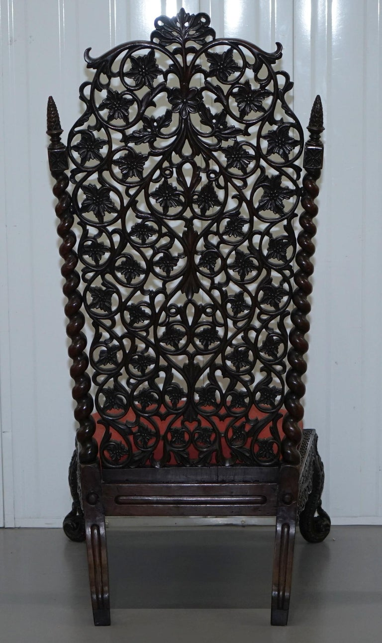 Rare circa 1880 Burmese Solid Rosewood Hand Carved Floral Chair High Back Ornate For Sale 9