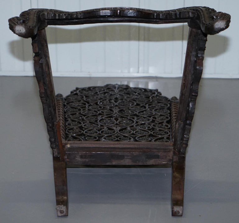 Rare circa 1880 Burmese Solid Rosewood Hand Carved Floral Chair High Back Ornate For Sale 11