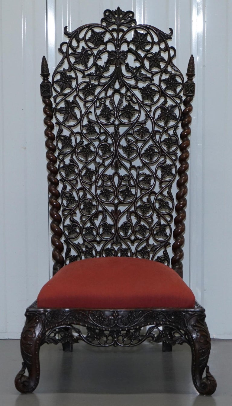 Victorian Rare circa 1880 Burmese Solid Rosewood Hand Carved Floral Chair High Back Ornate For Sale