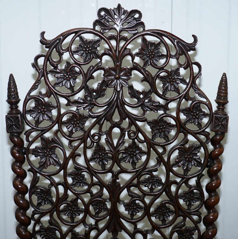 Rare circa 1880 Burmese Solid Rosewood Hand Carved Floral Chair High Back Ornate In Good Condition For Sale In London, GB