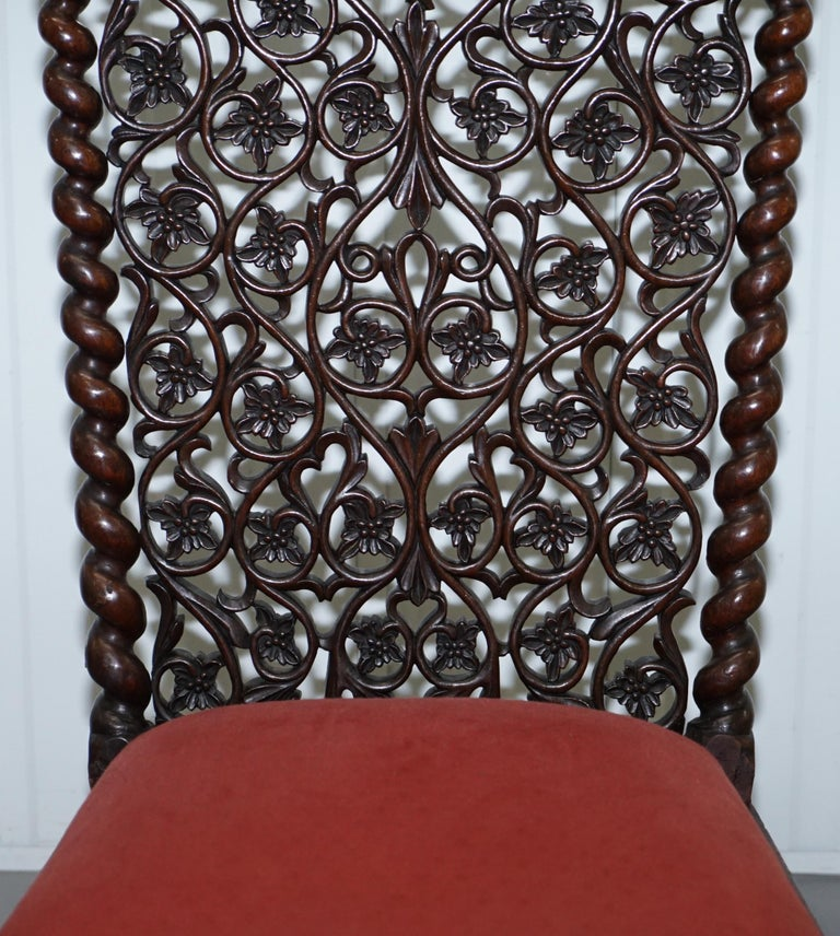 Rare circa 1880 Burmese Solid Rosewood Hand Carved Floral Chair High Back Ornate For Sale 1