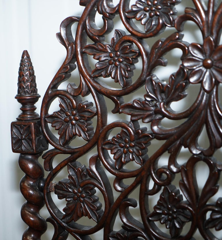 Rare circa 1880 Burmese Solid Rosewood Hand Carved Floral Chair High Back Ornate For Sale 2