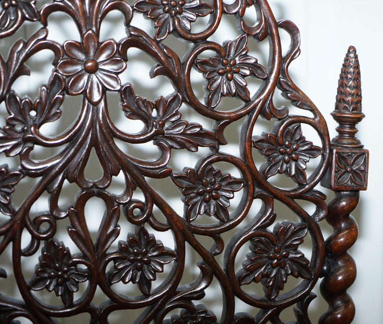 Rare circa 1880 Burmese Solid Rosewood Hand Carved Floral Chair High Back Ornate For Sale 3