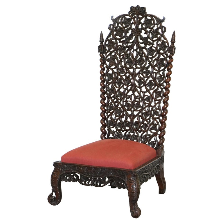 Rare circa 1880 Burmese Solid Rosewood Hand Carved Floral Chair High Back Ornate For Sale