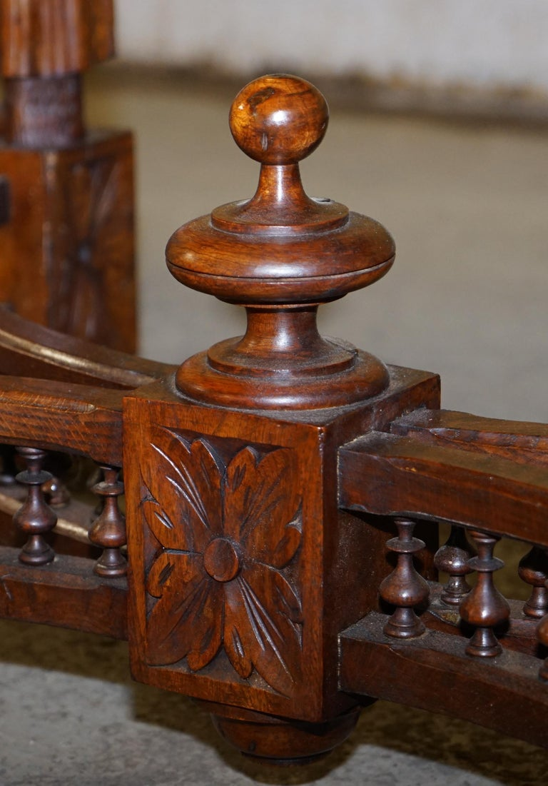 Rare circa 1880 French Brittany Hand Carved Chestnut Wood Extending Dining Table For Sale 5