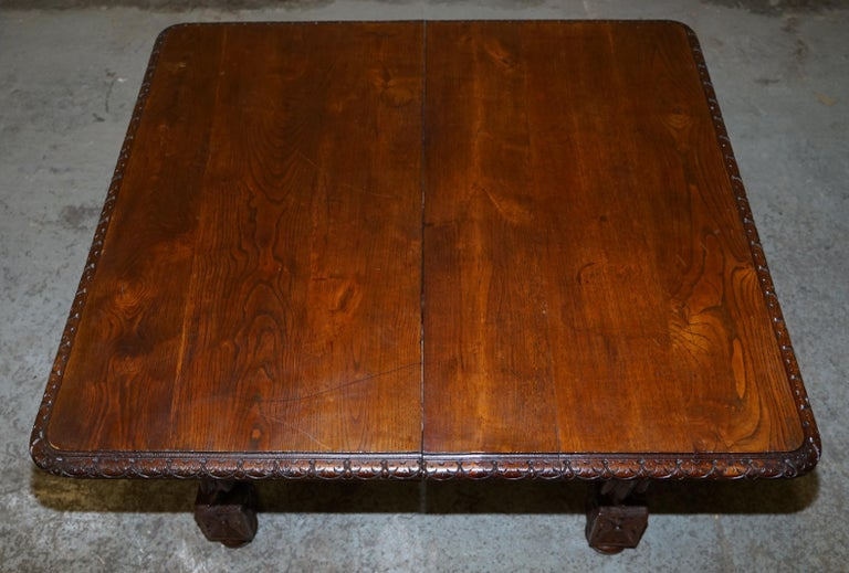 Rare circa 1880 French Brittany Hand Carved Chestnut Wood Extending Dining Table For Sale 6
