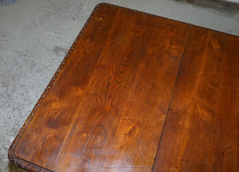Rare circa 1880 French Brittany Hand Carved Chestnut Wood Extending Dining Table For Sale 8