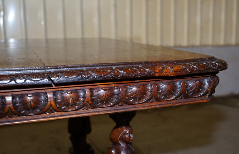 Rare circa 1880 French Brittany Hand Carved Chestnut Wood Extending Dining Table For Sale 9