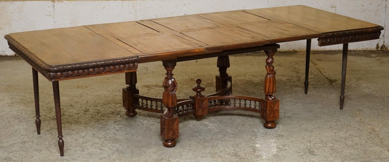 Rare circa 1880 French Brittany Hand Carved Chestnut Wood Extending Dining Table For Sale 11