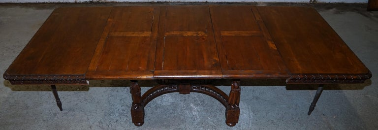 Rare circa 1880 French Brittany Hand Carved Chestnut Wood Extending Dining Table For Sale 12