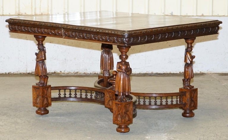 We are delighted to offer for sale this very rare original circa 1880 French Brittany hand carved solid Chestnut wood extending dining table  A very good look and rare extending antique French dining table. This piece is exceptionally decorative,