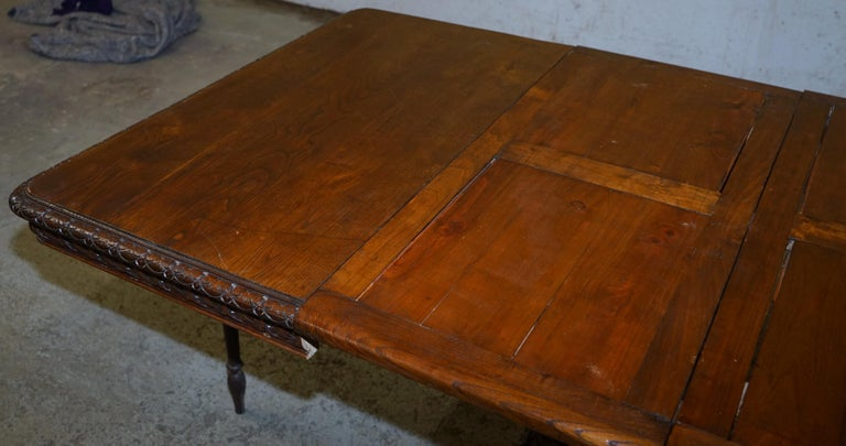 Rare circa 1880 French Brittany Hand Carved Chestnut Wood Extending Dining Table For Sale 14