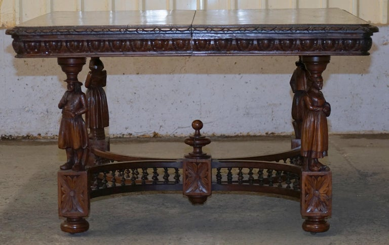 Victorian Rare circa 1880 French Brittany Hand Carved Chestnut Wood Extending Dining Table For Sale